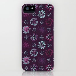 Purple Graphic Large Scale Flower Blooms Pattern iPhone Case