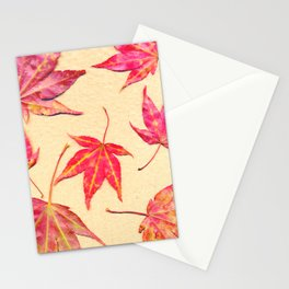 Japanese maple leaves - coral red on pale yellow Stationery Cards