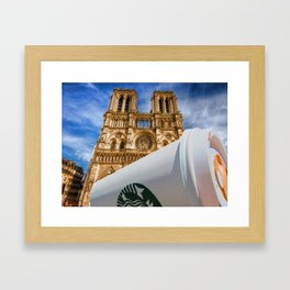 Discarded Coffee Cup Trash Oh Yeah - And Notre Dame Framed Art Print