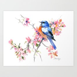 Bluebird and Cherry Blossom Art Print