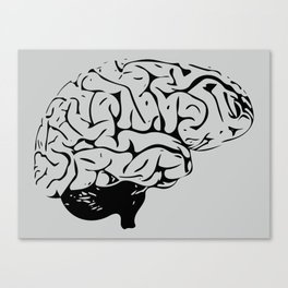 Braaains (black on grey) Canvas Print