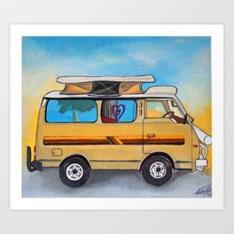 Magic campervan in the sunset Art Print