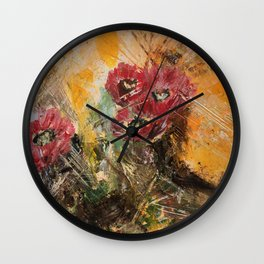 Pink Cactus Flowers Wall Clock