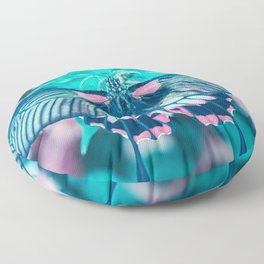 Teal and Peach Butterfly Floor Pillow