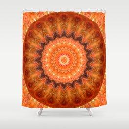 Mandala orange brown Shower Curtain