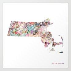 Massachusetts map Art Print