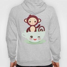 Cute Kawai pink cup with brown monkey Hoody