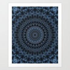 Mandala in steel and blue tones Art Print