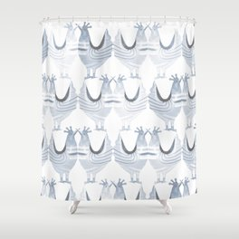 """""""Chickens from Your Barnyard, in Blue"""" by Murray Bolesta Shower Curtain"""