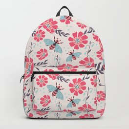 Honey Bees on Coral Pink Flowers Backpack
