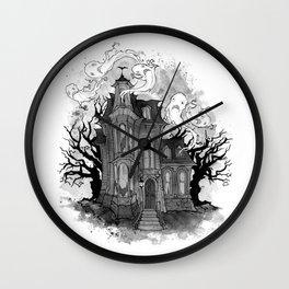 Inktober Haunted House Wall Clock