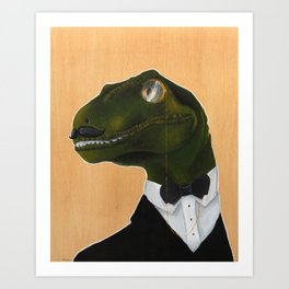 Dapper Velociraptor Art Print