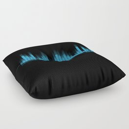 Cool Blue Graphic Equalizer Music on black Floor Pillow
