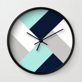 Geometric Criss Cross Navy Aqua Grey Wall Clock