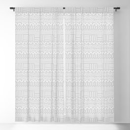 Mud Cloth on Light Gray Blackout Curtain