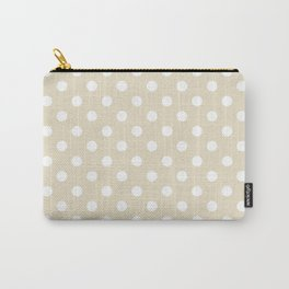 Small Polka Dots - White on Pearl Brown Carry-All Pouch