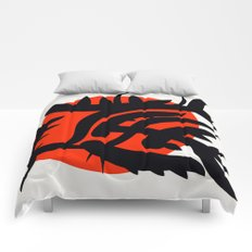 Red Japanese Sun abstract minimalist painting Comforters
