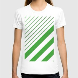 Green And White Stripes Pattern T-shirt