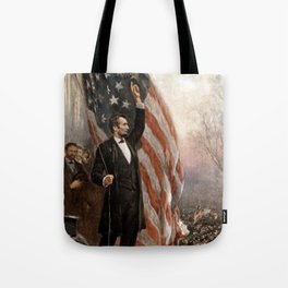 President Lincoln Giving A Speech Tote Bag