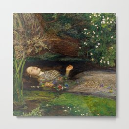 Ophelia from Hamlet Oil Painting by Sir John Everett Millais Metal Print