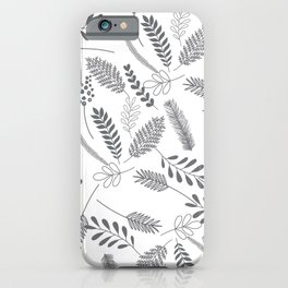 Modern gray hand painted leaves berries pattern iPhone Case