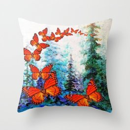 ORANGE MONARCH BUTTERFLIES FOREST MIGRATION Throw Pillow