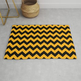 Large Pale Pumpkin Orange and Black Halloween Chevron Stripes Rug