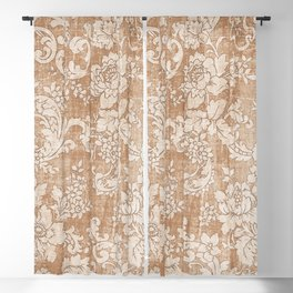 Vintage white brown grunge shabby floral Blackout Curtain