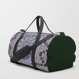 Purple Fox Flower Square Pattern Duffle Bag