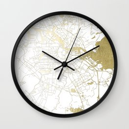 Amsterdam White on Gold Street Map Wall Clock