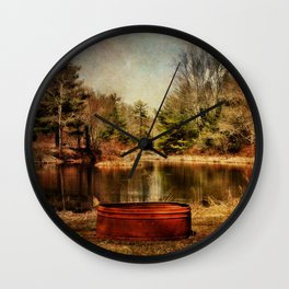 Playing at the Pond Wall Clock