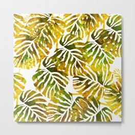Sunset Tropical Leaves Abstract Metal Print