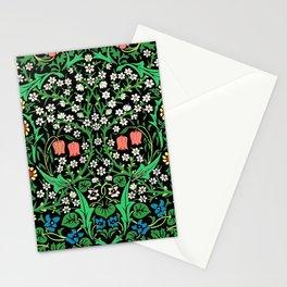 William Morris Jacobean Floral, Black Background Stationery Cards