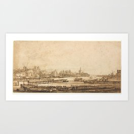 Rembrandt - View over the Amstel from the Rampart (1650) Art Print