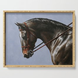 Brown Dressage Horse Serving Tray