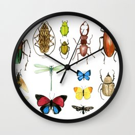 The Usual Suspects - insects on white Wall Clock