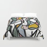 kandinsky Duvet Covers featuring Geometric Abstract Watercolor Ink by Ashley Grebe