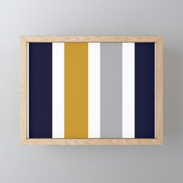 Quatro Stripe Minimalist Broad Stripe Color Block Pattern in Mustard Yellow, Navy Blue, Gray, White Framed Mini Art Print