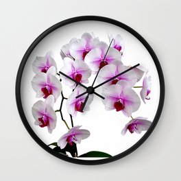 White and red Doritaenopsis orchid flowers Wall Clock