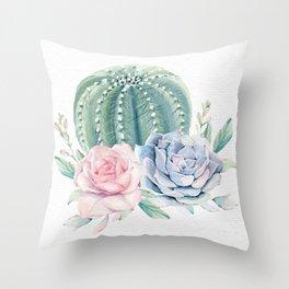 Cactus Rose Succulent Watercolor by Nature Magick Throw Pillow