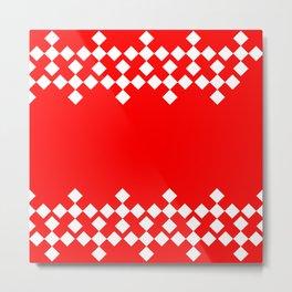 Red White Argyle Pattern Metal Print