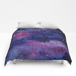 Watercolor Galaxy Nebula Pink Purple Sky Stars Comforters