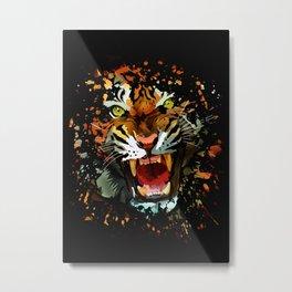 Tiger Roar Splatter Metal Print
