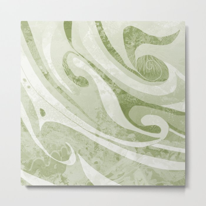 Abstract Green Waves Design Metal Print
