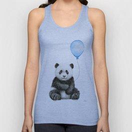 Panda Baby Animal with Blue Balloon Unisex Tank Top