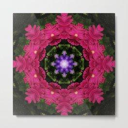 Hot Pink Gerbera And Cool Blue Viola Kaleidoscope Metal Print