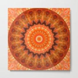 Mandala orange brown Metal Print