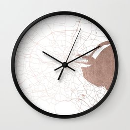 Dublin White on Rosegold Street Map II Wall Clock