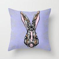 rabbit Throw Pillows featuring Rabbit by SilviaGancheva