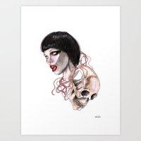 lucas david Art Prints featuring  Alice Glass and  skull By Lucas David by Lucas David